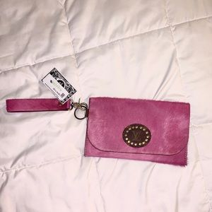Pink upcycled LV  wristlet